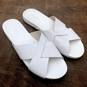 New White Michael Kors Criss Cross Slide Sandal